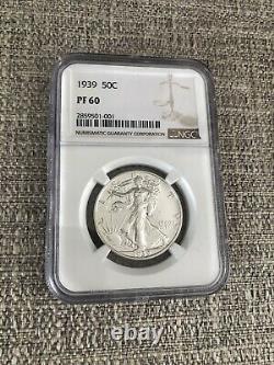 1939 Proof Walking Liberty Half Dollar 50c Ngc Certified Pf 60