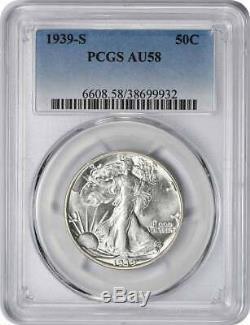 1939-S Walking Liberty Half Dollar, AU58, PCGS