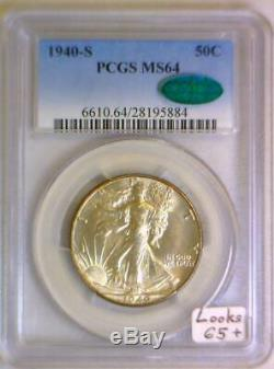 1940-S Walking Liberty Half Dollar PCGS MS-64 With CAC Looks 65+