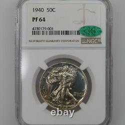 1940 Walking Liberty 50C NGC CAC Certified PF64 Proof Struck Silver Half Dollar