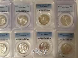 1941-1947 50c Silver Walking Liberty Short Set PCGS MS64 half dollar coins b11