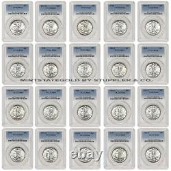 1941-1947 50c Silver Walking Liberty Short Set PCGS MS65-MS66 half dollar coin