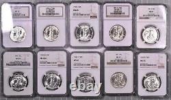 1941-47 Walking Liberty Silver Half Dollar 20 Coin Short Set NGC MS65