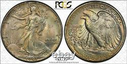 1941 P MS67 Walking Liberty Half Dollar 50c, PCGS Graded, Earthy Tone with Color