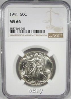1941-P Silver Walking Liberty Half Dollar NGC MS66 AJ152