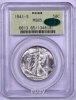 1941-S Walking Liberty Silver Half Dollar PCGS MS65 CAC OGH Old Green Holder