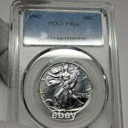 1942 PR64 Walking Liberty Half Dollar 50c Proof, PCGS Graded PF64