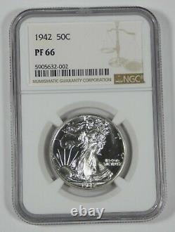 1942 Walking Liberty Half Dollar CERTIFIED NGC PROOF 66 Silver 50c
