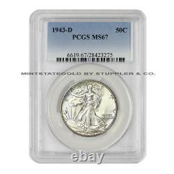 1943-D 50c Walking Liberty PCGS MS67 Denver Gem Graded Silver Half Dollar Coin