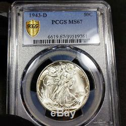 1943-D MS67 Walking Liberty Half Dollar 50c, PCGS Graded