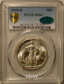 1943-D Walking Liberty Half Dollar PCGS Secure & CAC MS-67! A WOW coin