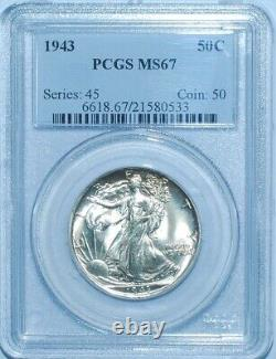 1943 PCGS MS67 Walking Liberty Half Dollar