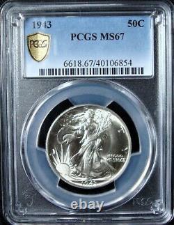 1943 Walking Liberty Silver Half Dollar PCGS MS 67 Gold Shield