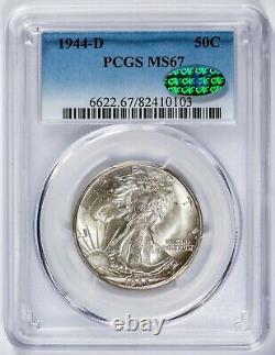 1944-D Walking Liberty PCGS MS67 CAC-Verified Superb Gem Silver Half Dollar