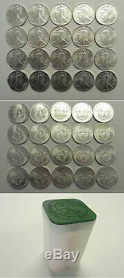 1986 Orig GEM BU Mint Roll 1oz Silver American Eagles, Liberty Walking