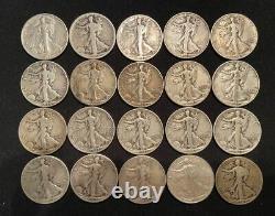 1 Roll (20) 90% Silver Liberty Walking Half Dollars (#15)
