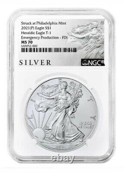 2021 (P) Silver Eagle T1 Emergency Prod FDI NGC MS70 Walking Liberty Label