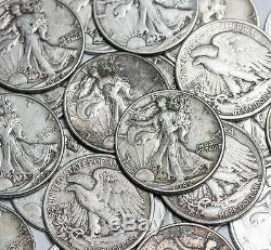 20 Coin Roll Lot Of 90% Silver $10 FV USA Made Walking Liberty Half Dollars