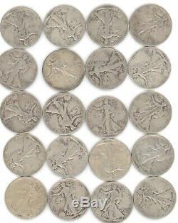 20 Coins Full Roll Walking Liberty Half Dollar Lot 90% Silver Old US SEE PICS
