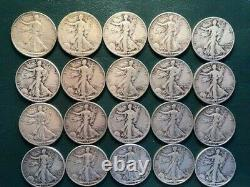 20 Coins Full Roll Walking Liberty Half Dollar Lot 90% Silver SEE PICS