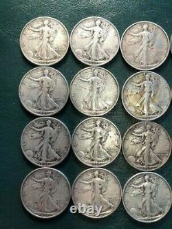 20 Walking Liberty Half Dollars Lot (all 1930s). 90% Silver. SEE PICS