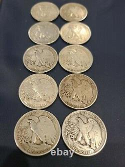 $5 face value 90% silver walking liberty half dollar dollars lot of 10 bullion