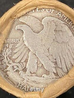 Bank Wrapped Roll Walking Liberty Half Dollar $10 Face 90% Silver 20 coins