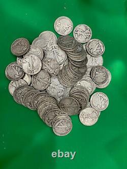 Half Roll (10 Coins) Walking Liberty Half Dollars -Circulated- 90% Silver Coins