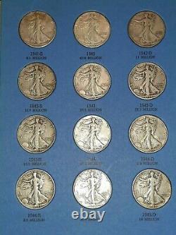 Liberty Walking Half Dollar -1937-47-28 Coins Total -Silver-Whitman Folder