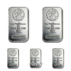 Lot 5 X 1 Troy Oz. 999 Fine Silver Walking Liberty Bars Bu