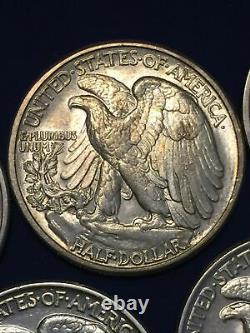 Lot 615- Lot Of 5 (five) 90% Silver Walking Liberty Half Dollars Better Grade