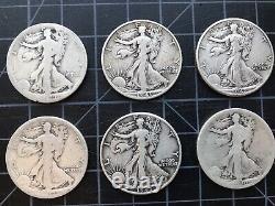 Lot Of (10) Walking Liberty 90% Silver Half Dollar Coins