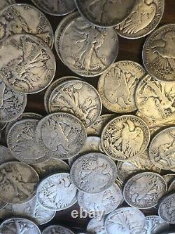 Lot of 10 Walking Liberty Half Dollar 1916-1947 90% Silver