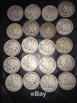 Lot of 20 Walking Liberty Silver Half Dollars 1940s Dates 90% Silver Coins
