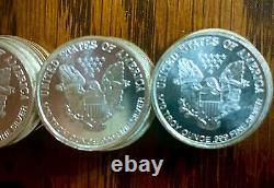 Lot of 25 with Tube. 999 Silver Walking Liberty / Heraldic Eagle Premium Rounds