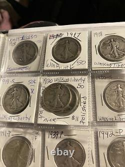 Lot of(37)coins. (20) Ben Franklin Half Dollars 90% Silver/ (17) Walking Liberty