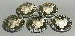 Lot of 5 1 oz. 999 Fine Silver Sunshine Mint Walking Liberty Rounds in Flips