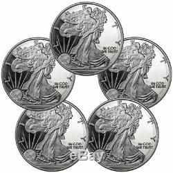 Lot of 5 Highland Mint Walking Liberty 1 oz Silver Round GEM BU SKU60395
