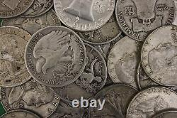 MAKE OFFER 2 Troy Ounces Franklin Walking Liberty Half Dollars Junk Silver Coins