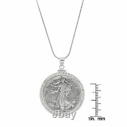 NEW Sterling Silver Twisted Rope Silver Walking Liberty Half Dollar Coin Pendant