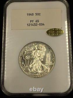 NGC GEN 2.1 1940 PF65 GOLD CAC Walking Liberty 50c Proof VERY RARE 2.1 NGC