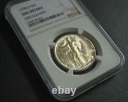Nice 1938-D Walking Liberty 50C Silver Half Dollar NGC UNC Details OBV Cleaned
