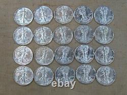 (ONE) CNB Denver Full Uncirculated 20 Walking Liberty Silver Half Dollar Roll