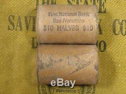 ONE FNB SF PRE-1960 Full GEM BU Walking Liberty Franklin Half Dollar Roll