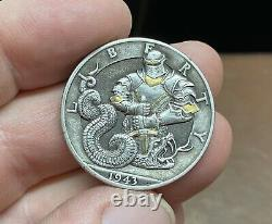 Original Hobo nickel hand carved silver Walking Liberty 50 cent 1943