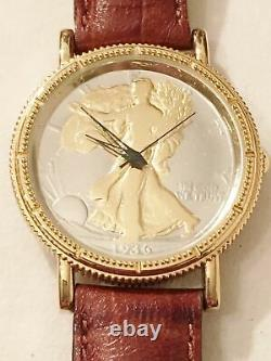 Real 1939 Walking Liberty Half Dollar Coin 900 Silver Wrist Watch Leather Works