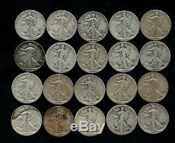 Roll (20) Liberty Walking Half Dollars 90% Silver (worn/damaged) Lot C05