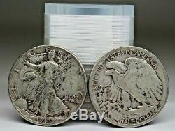 Roll Of 20 Walking Liberty Half Dollars $10 face Value 90% Silver
