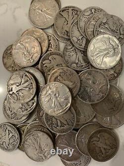 Roll Of Twenty (20) Walking Liberty Half Dollars, 90% Silver Circulated