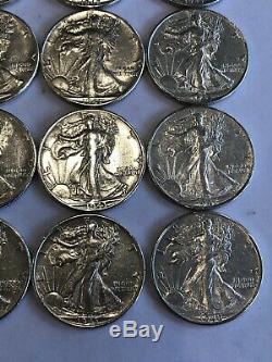 Roll Of Uncirculated Walking Liberty Half Dollars 90% Silver 20 Coins Lot AU BU